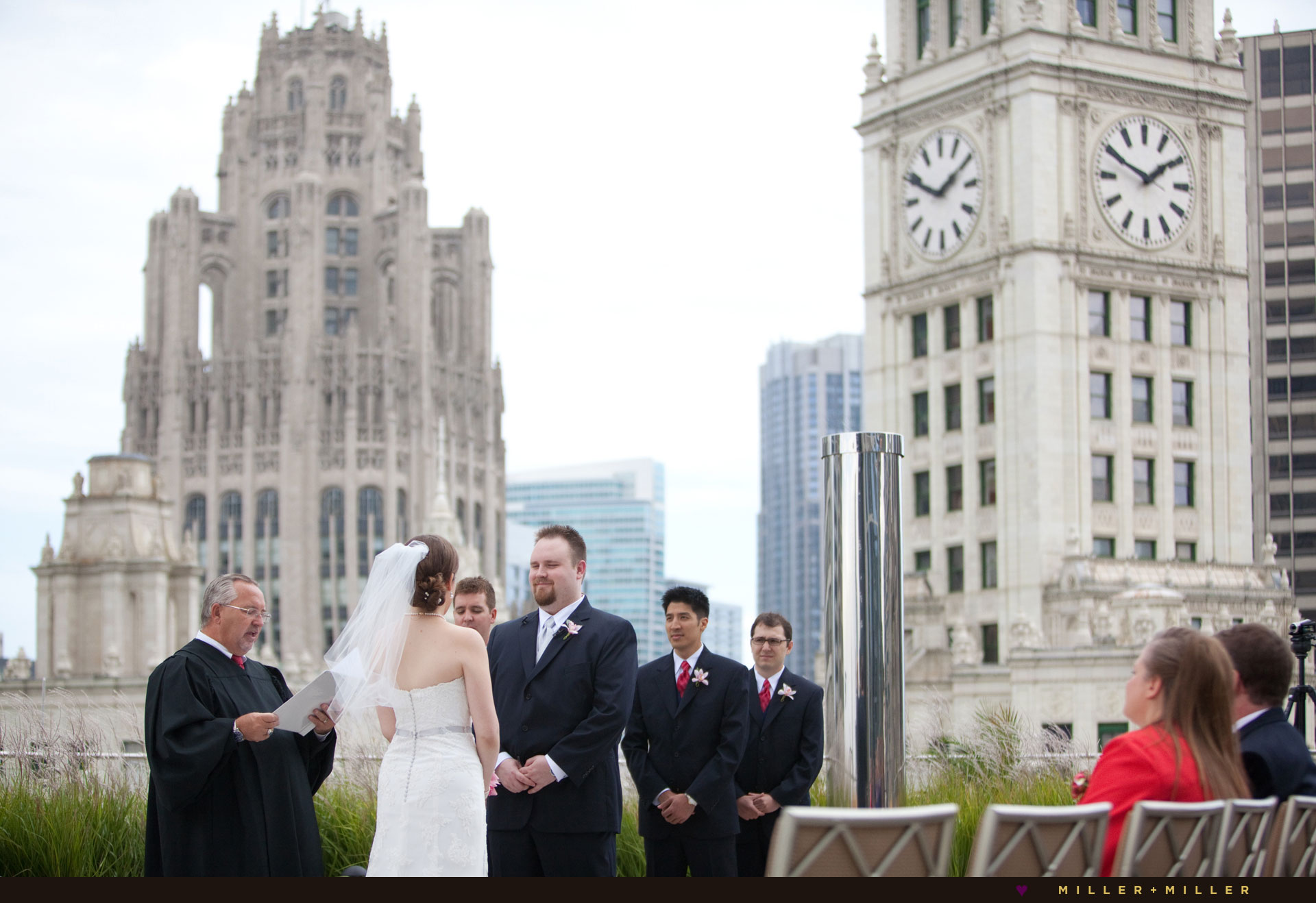 amazing Chicago rooftop wedding Trump Wrigley Clock Tower