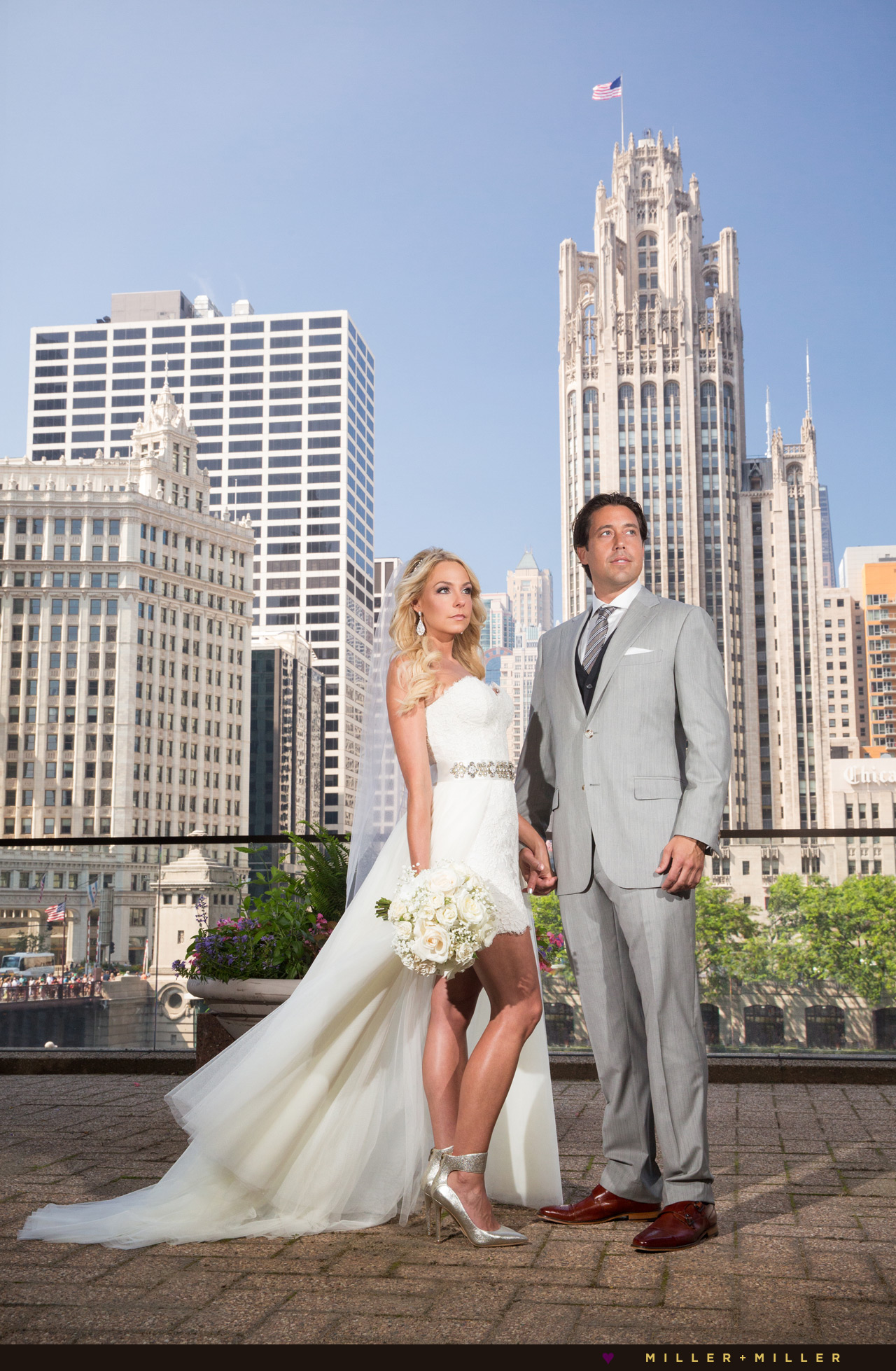 Tribune Tower Wrigley Chicago Wedding Photos