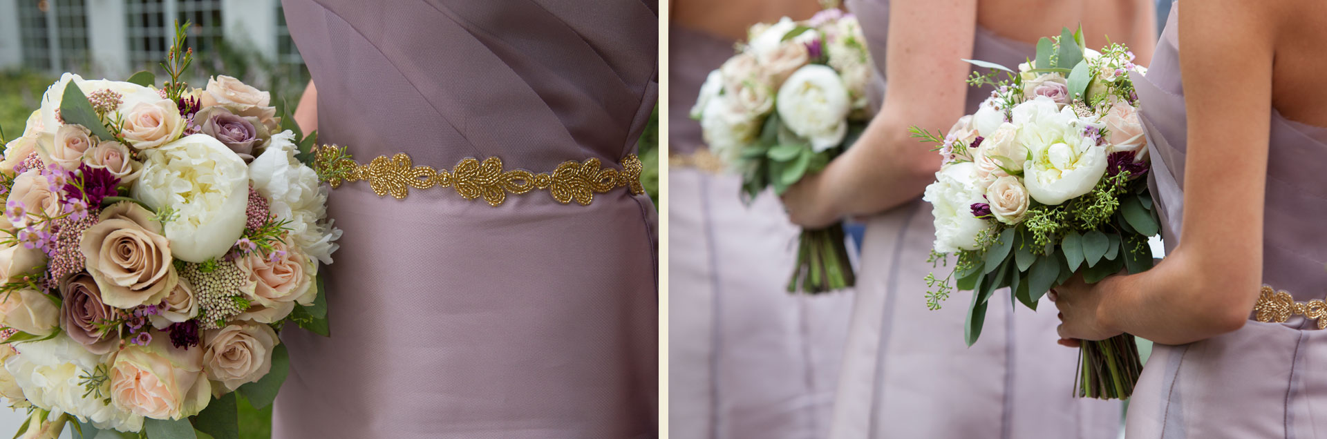 gold belt blush pink bouquets bridesmaid dresses