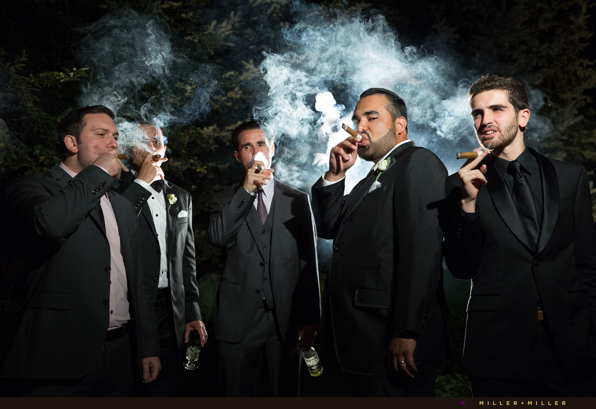 smoking cigar wedding reception photos
