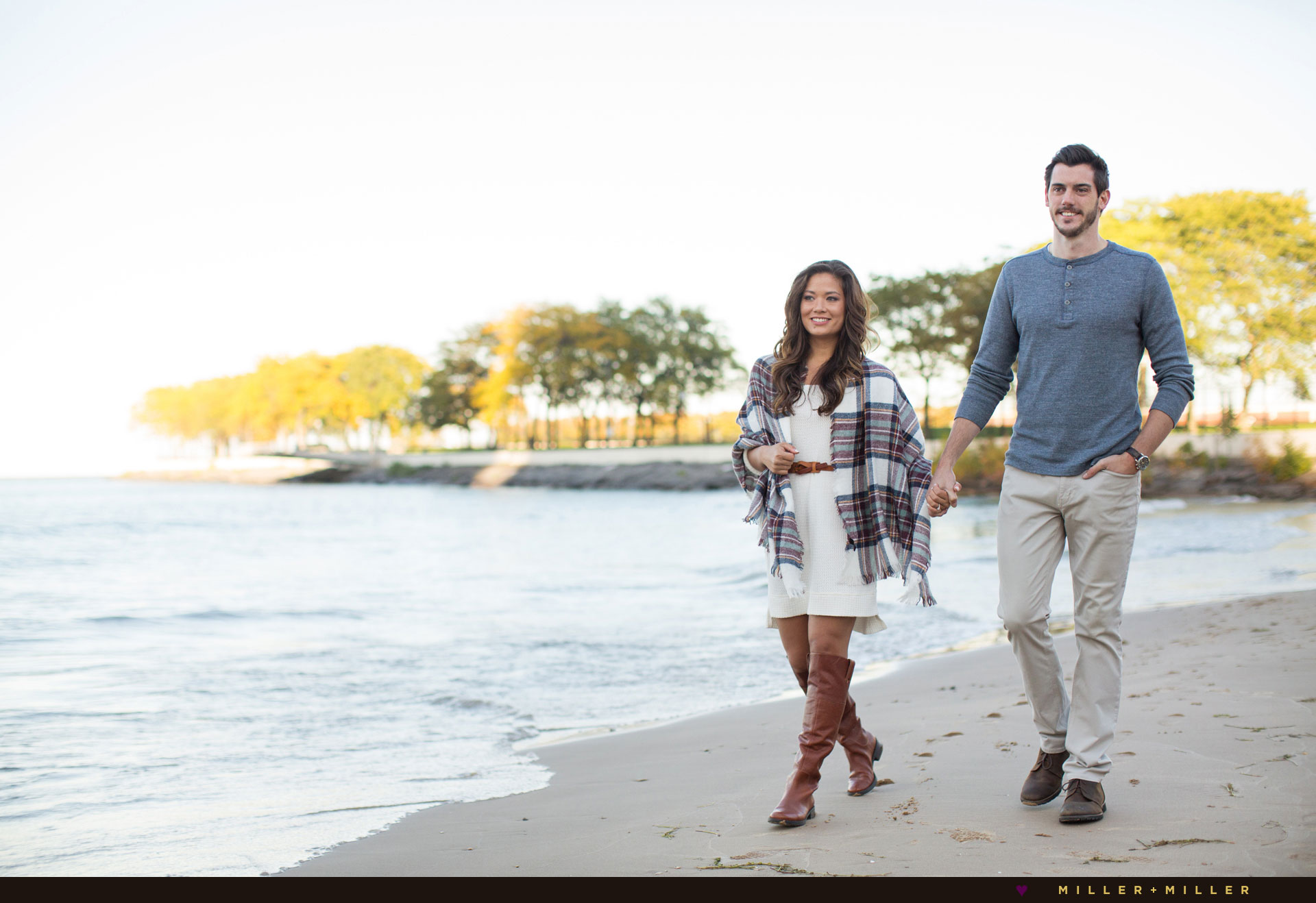 chicago-harbor-sunset-beach-walking-engagement-images
