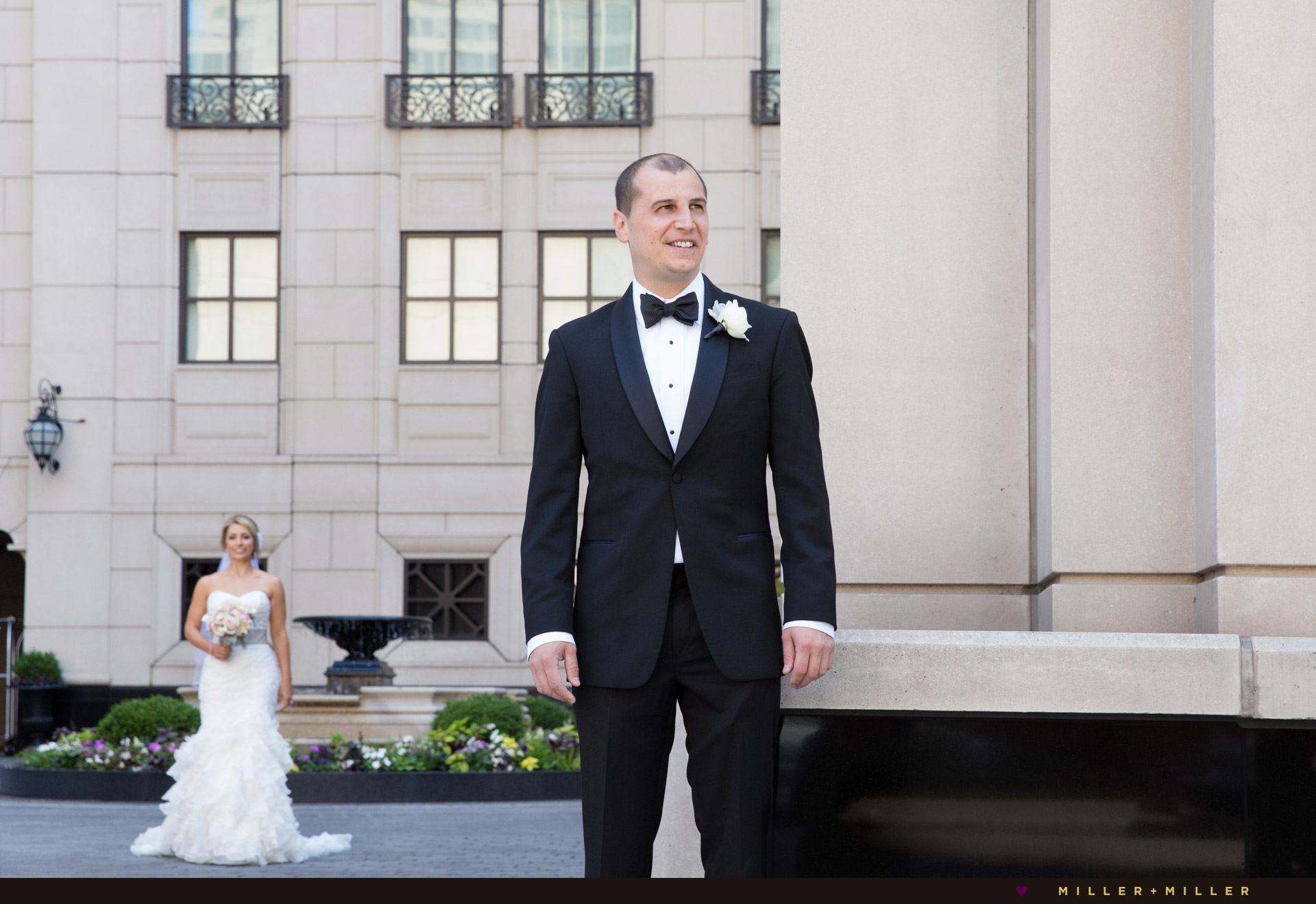 elegant groom bride portraits Chicago