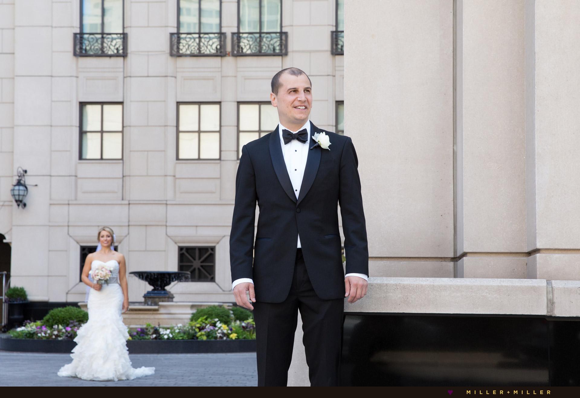 elegant groom bride portraits Chicago