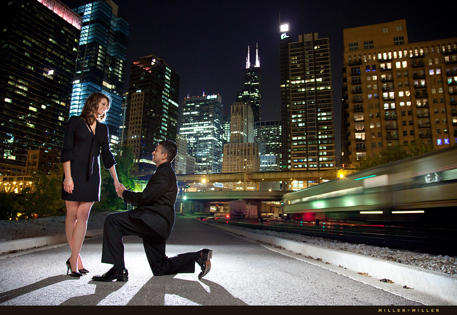 Chicago wedding proposal skyline