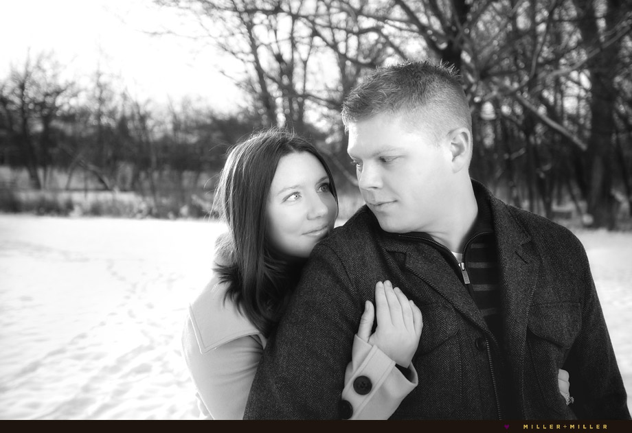 black and white chicago snow engagement photos