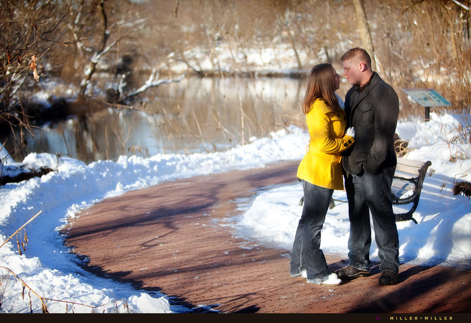 outdoor winter engagement photos lemont
