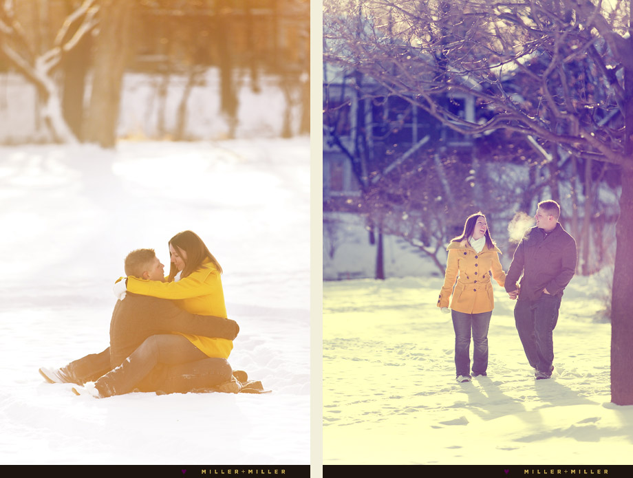 winter chicago engagement photos