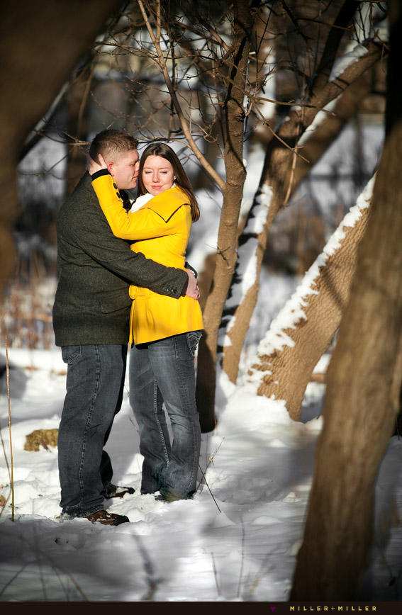 winter engagement photos in naperville