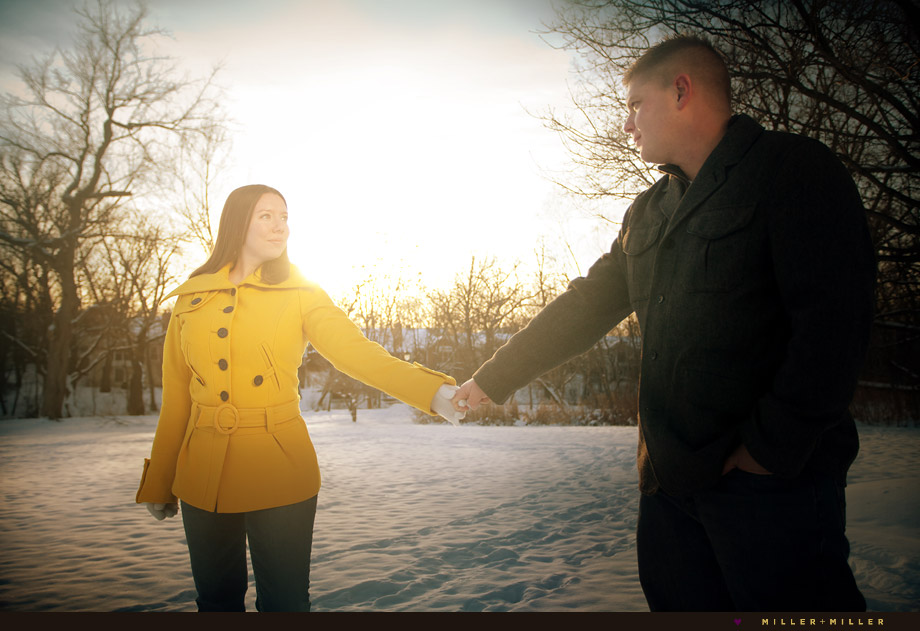 yellow winter couple photo
