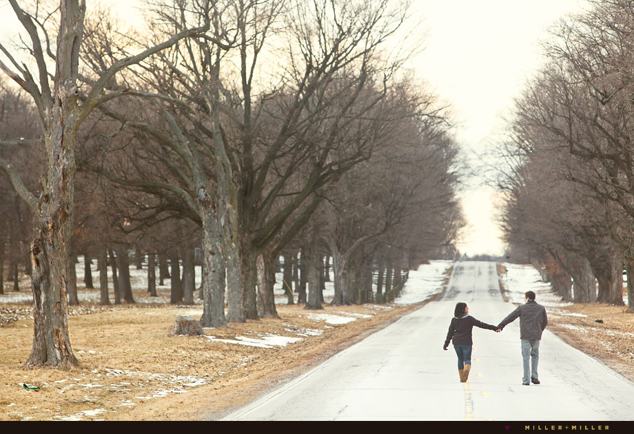 tree lined street winter engagement pictures chicago