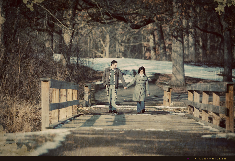 geneva Illinois winter bridge engagement photographer