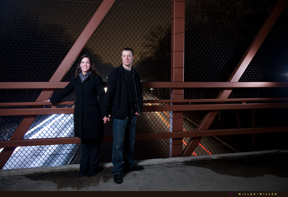 bridge after dark engagement pictures