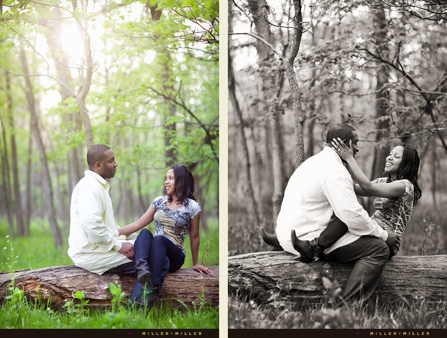 black and white engagement photo woods log