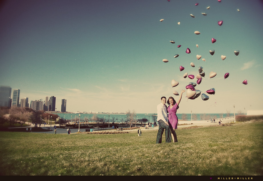 chicago balloons in the sky engagement image