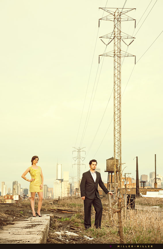 chicago industrial engagement fashion shots
