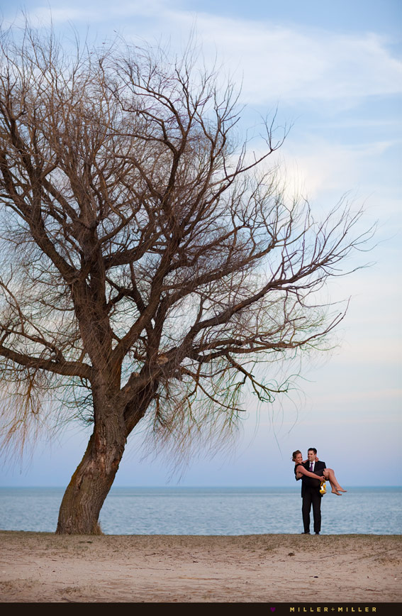 chicago lake michigan beach engagement photo