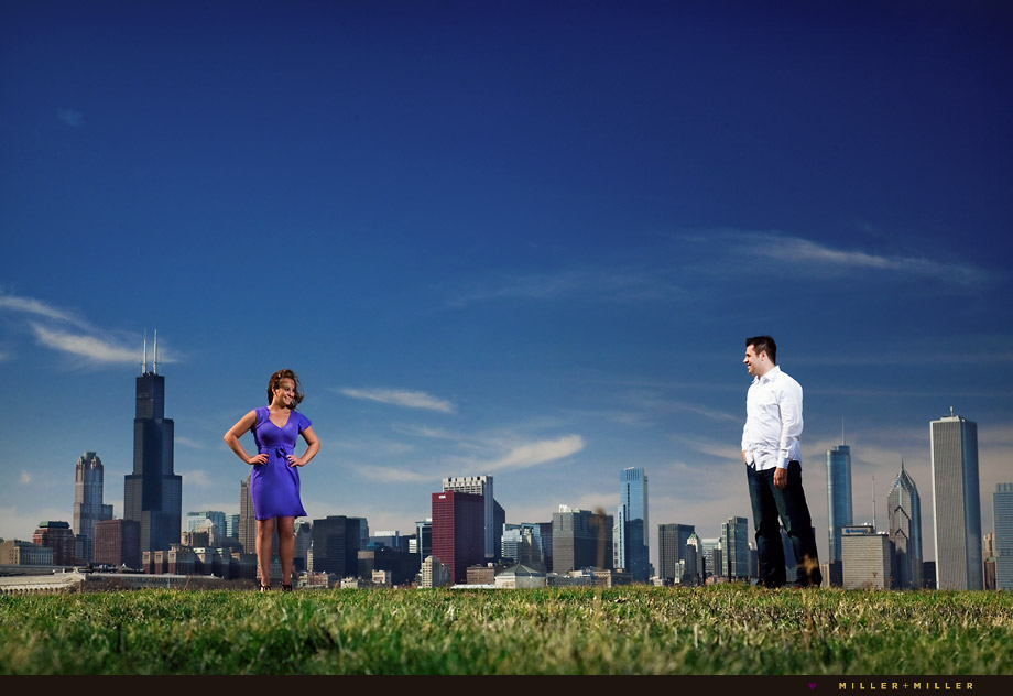 chicago loop buildings engagement photos