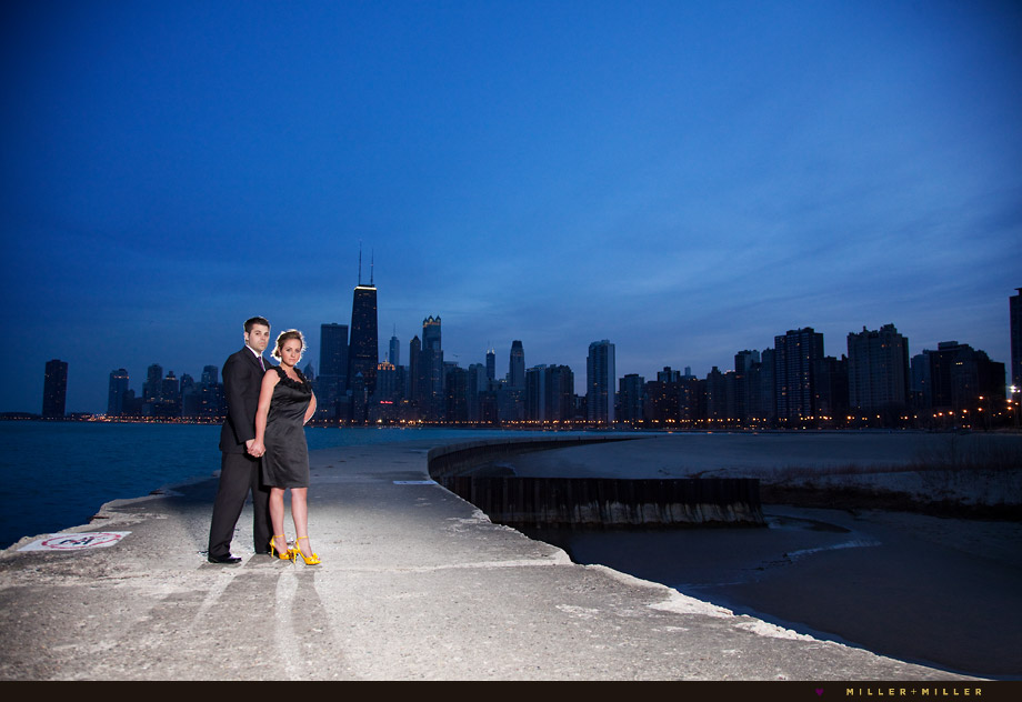 chicago pier skyline engagement night image