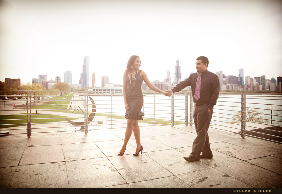 Chicago skyline balcony engagement photography