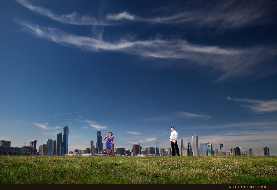 downtown chicago skyline day engagement photo