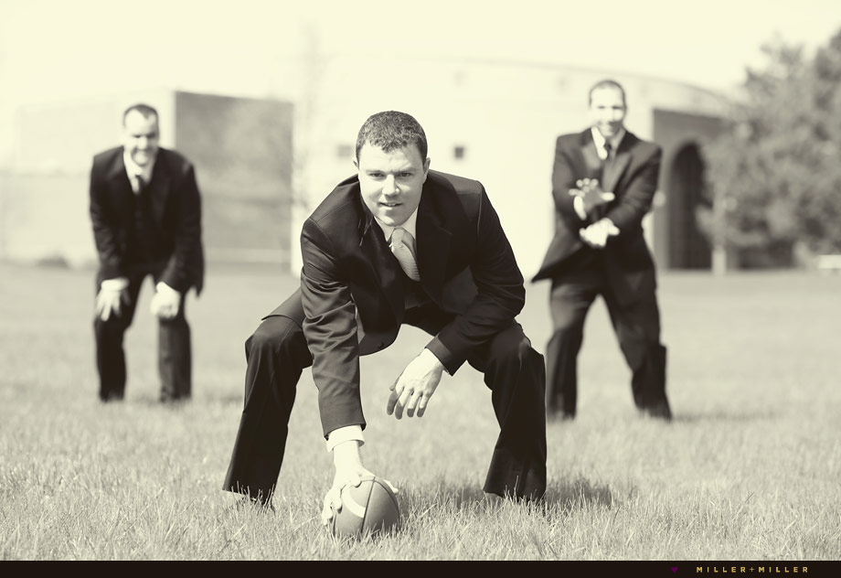 groomsmen playing football outside church illinois