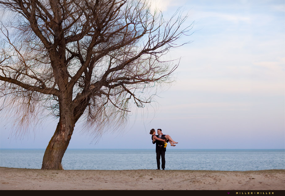lake michigan shoreline engagement wedding photographer