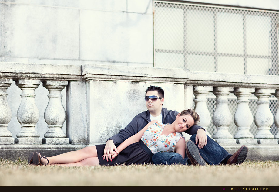 museum park chicago engaged couple portraits