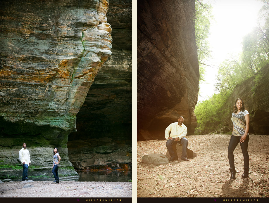 starved rock wall engagement photography
