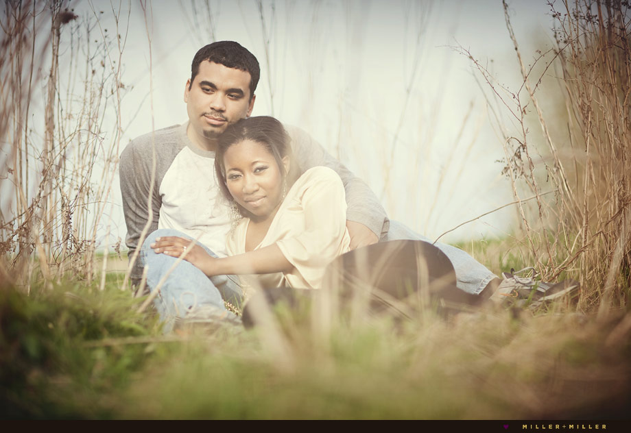 tall grasses field engagement photo in Chicago