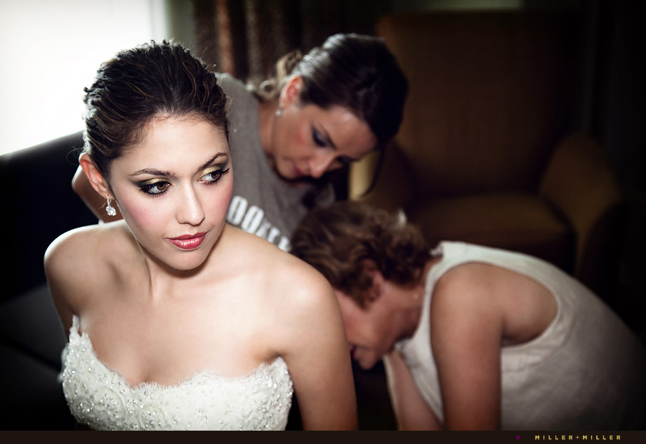 bride prep photos colorful chicago hotel