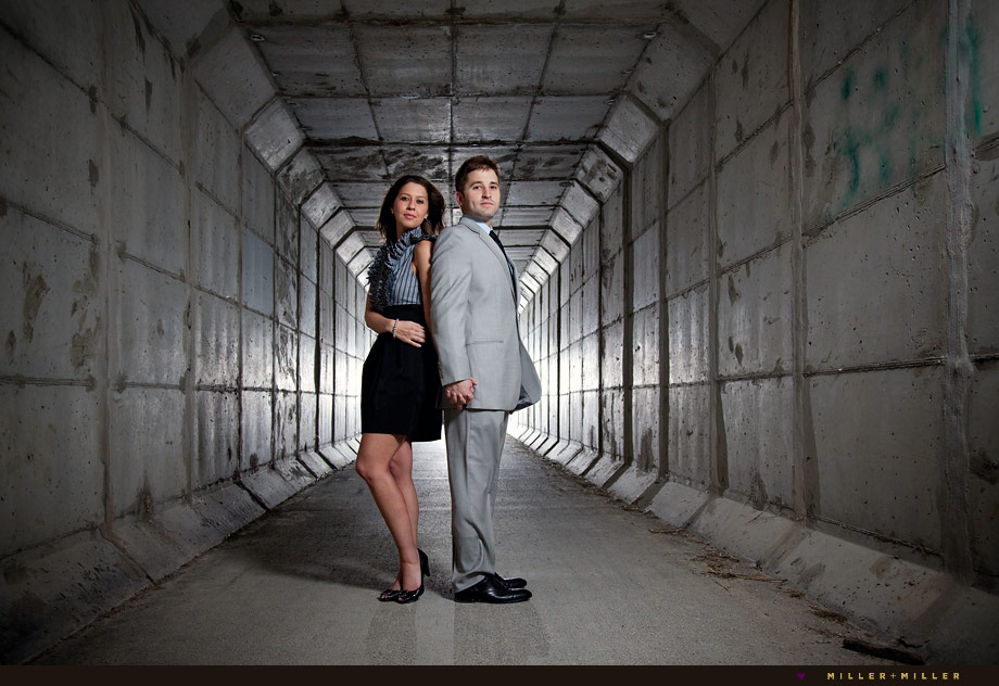 cement tunnel naperville engagement photography