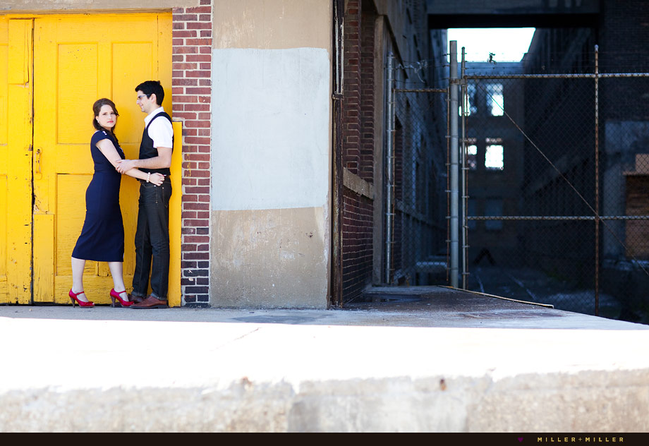 chicago back alley industrial engagement photography