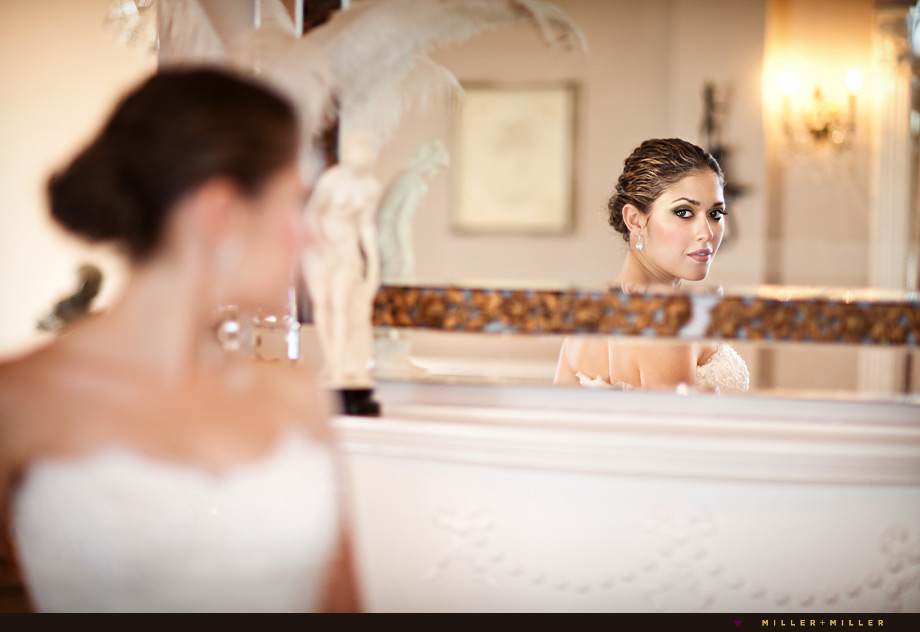 chicago civic opera house wedding photographer mirror reflection