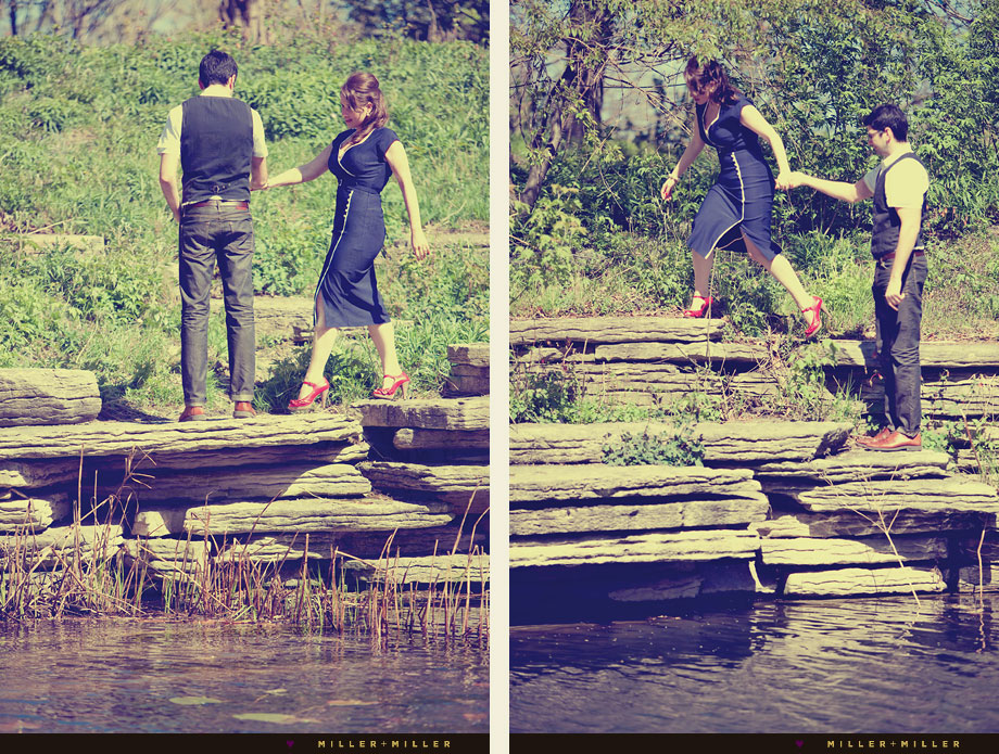 chicago lily pond engagement photos retro