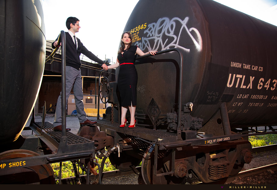 chicago tracks train tank car graffiti vintage engagement