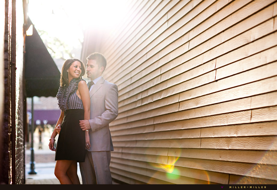 downtown naperville sunset engagement photo