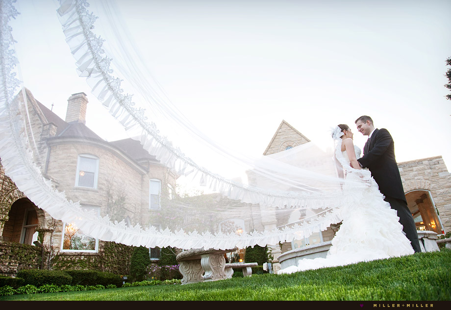 dramatic cathedral veil wedding photo