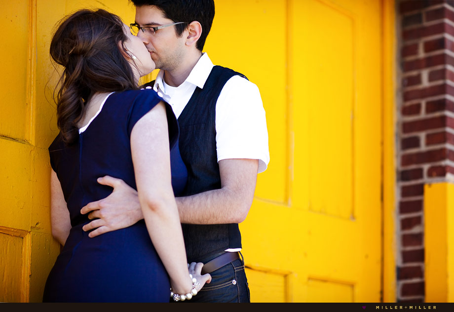 kissing chicago yellow door engagement photo