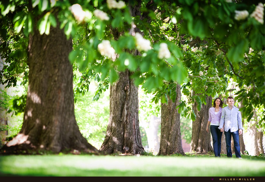 lemont engagement photographer trees illinois