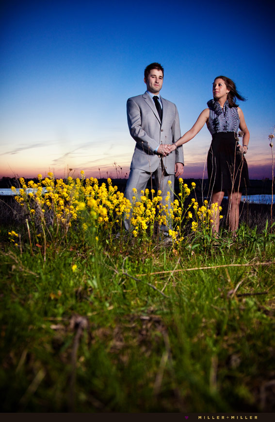 naperville sunset night engagement portraits