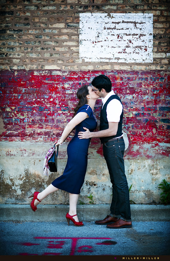 old hollywood vintage kiss red wall chicago