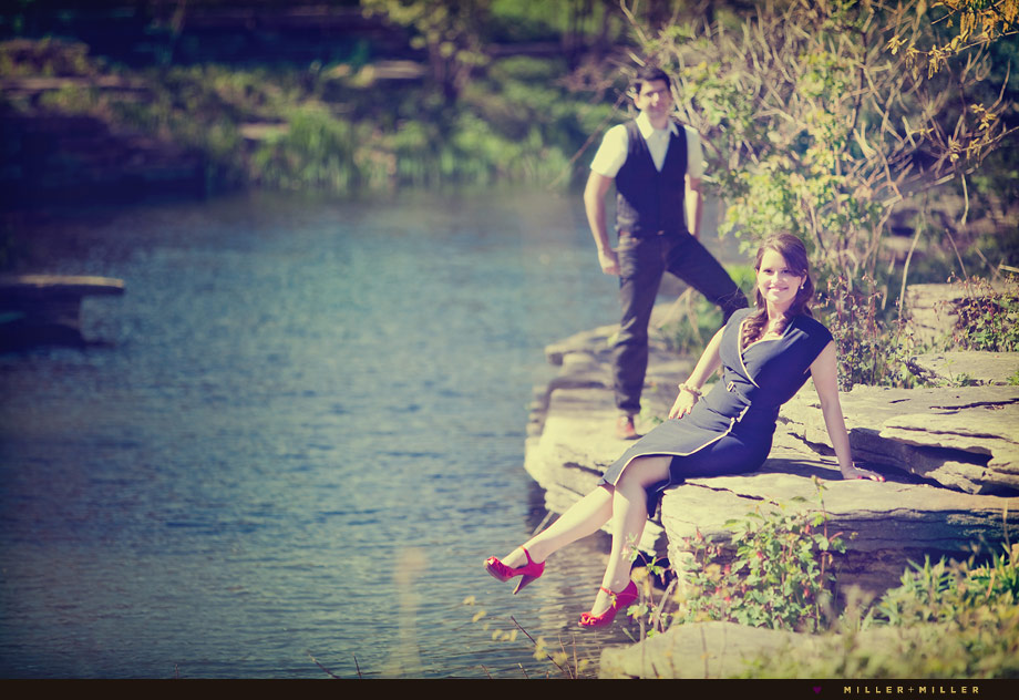 retro chicago engagement pictures red shoes water