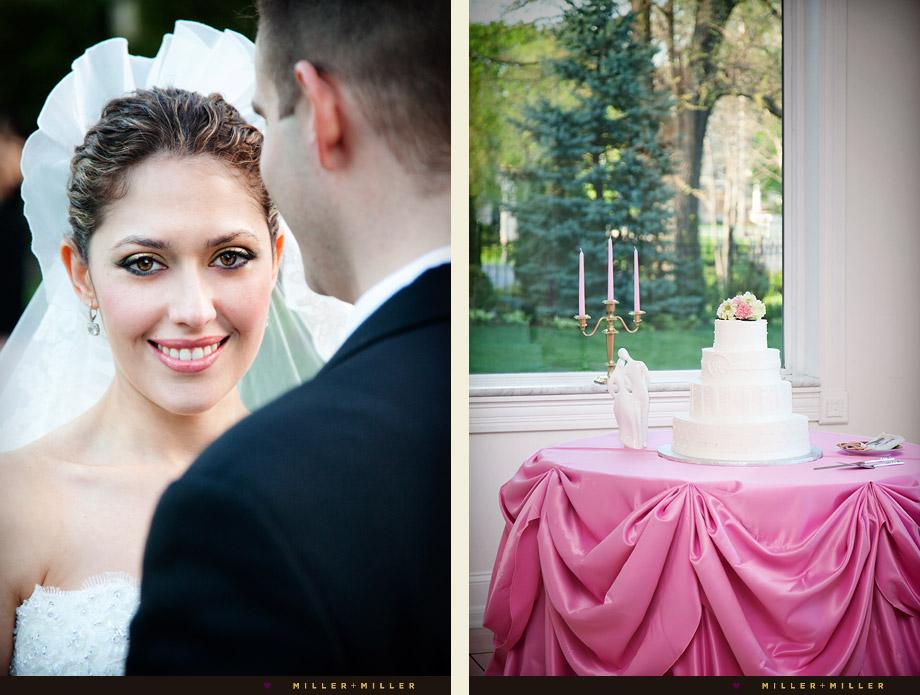 smiling bridal make-up chicago cake picture pink