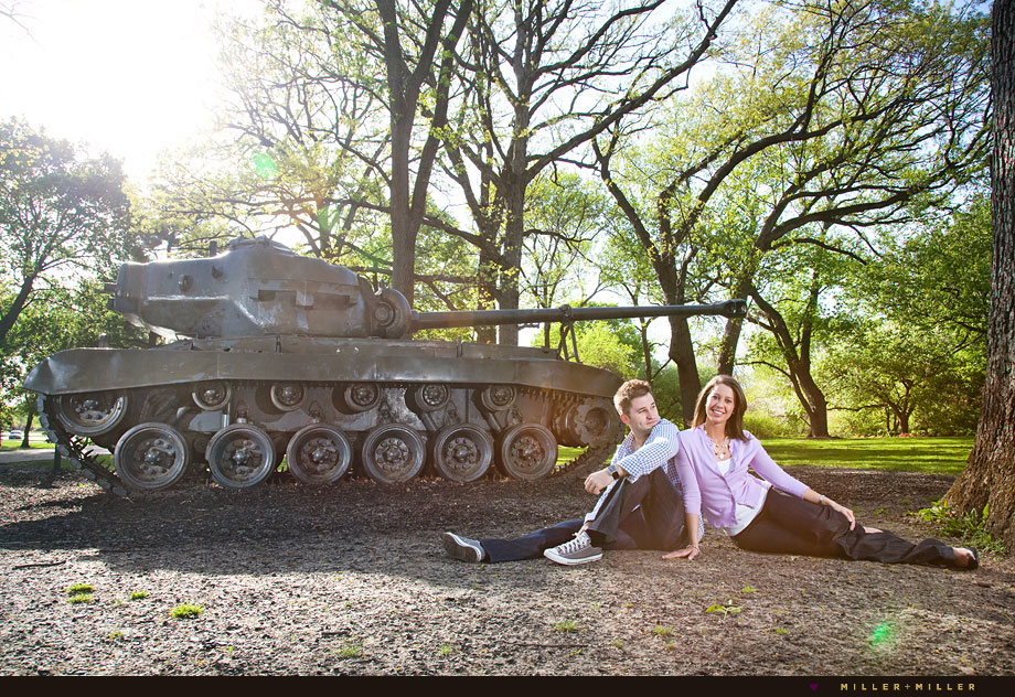 unique engagement photographer cantigny army tanks photos