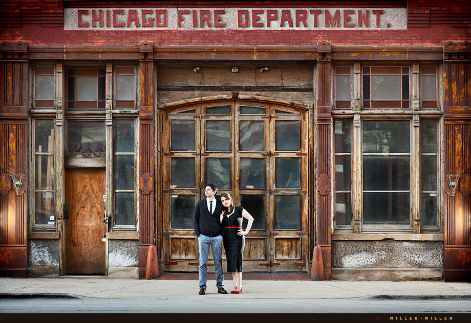 vintage chicago fire department photographs engagement
