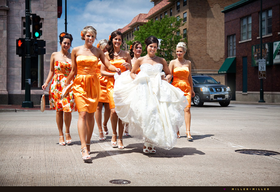 bridesmaids chicago wedding walking downtown photos