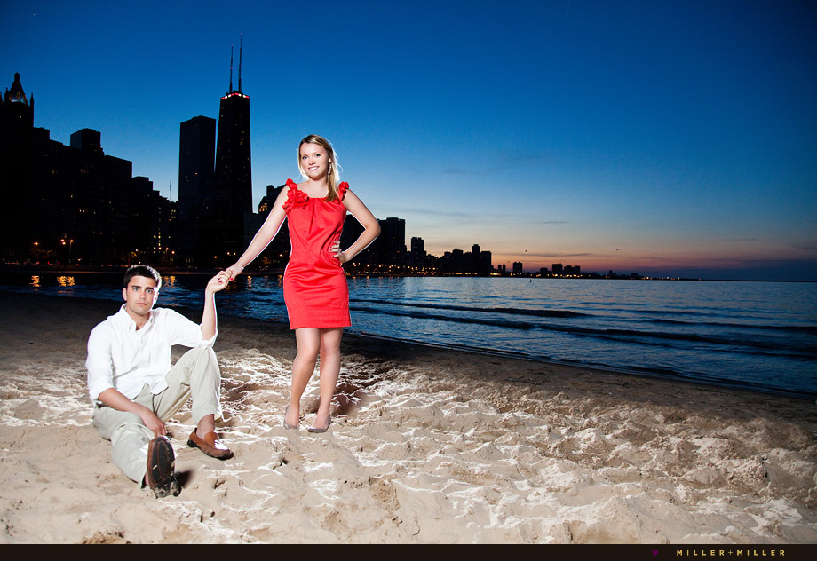 chicago beach night skyline sunset engagement pictures