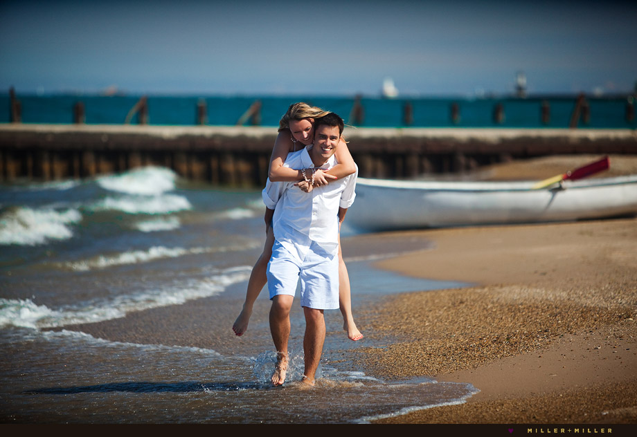 chicago cute engagement portraits beach