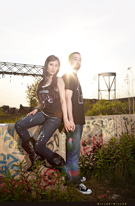 chicago dj engagement couple industrial edgy pictures