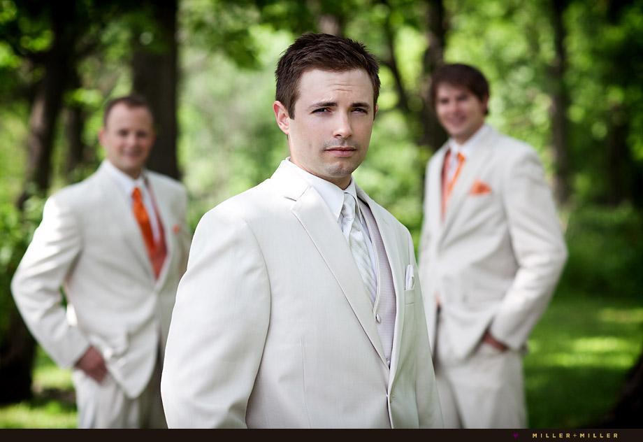 chicago groom tan suit orange accents